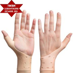 2 Breathable Gel Wrist & Thumb Support Braces for Right & Le