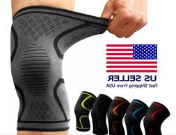 2X Knee Brace Support Compression Sleeve For Joint Pain Arth