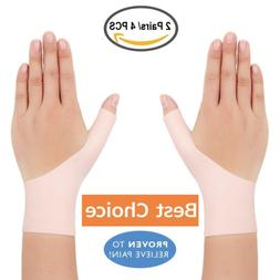 4 Breathable Gel Wrist & Thumb Support Braces for Right & Le