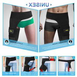 Black Adjustable Groin Brace Wrap Thigh Support Pain Relief