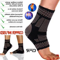 Copper Ankle Support Brace Arthritis Compression Sleeve Foot