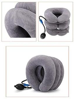 inflatable neck traction collar device