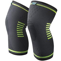 Sable Knee Brace Support Compression Sleeves, 1 Pair FDA Reg