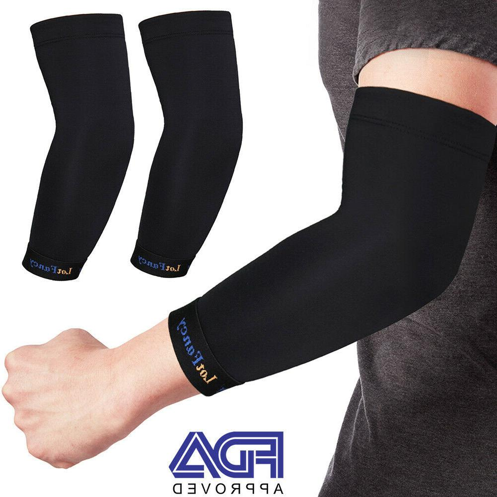 2x copper elbow sleeve brace compression support