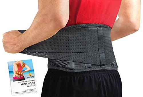 Back Support Belt by Sparthos - Relief for Back Pain, Hernia