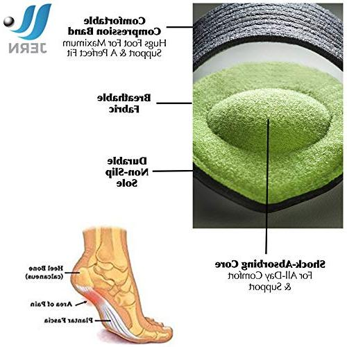 JERN Extra Cushioned Compression Arch More Padded Comfort Plantar Fasciitis, Fallen Heel Flat and Achy Foot Pain Problems - 1