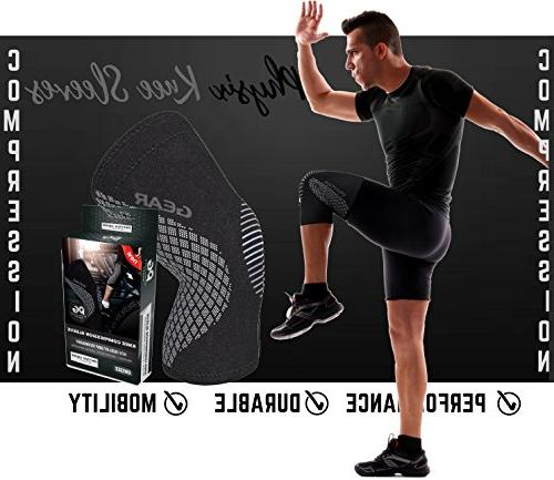 Physix Gear Brace - & Compression Sleeve for Meniscus Running & Arthritis - Best Neoprene Stabilizer for Crossfit, Workouts