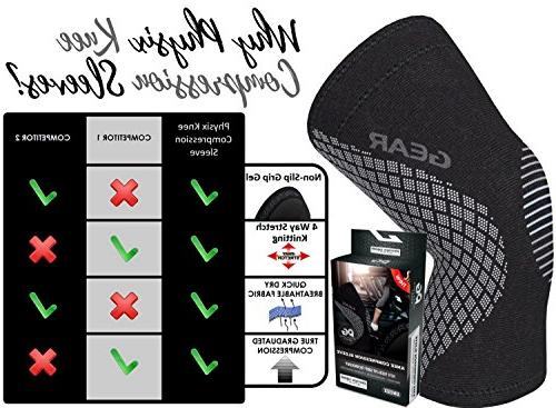 Physix Gear Support Brace Premium Recovery & Compression Meniscus MCL Running Arthritis - Best Neoprene Stabilizer for Crossfit, & Workouts