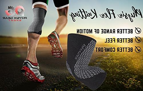 Physix Gear Knee Support & Sleeve Meniscus MCL Running & Arthritis for Workouts