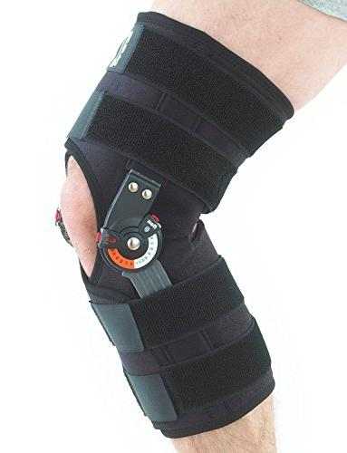 Neo G Hinged Brace, Open For Arthritis, Tendon, Strains, ACL, Injury Recovery - Adjustable Medical Size - Black