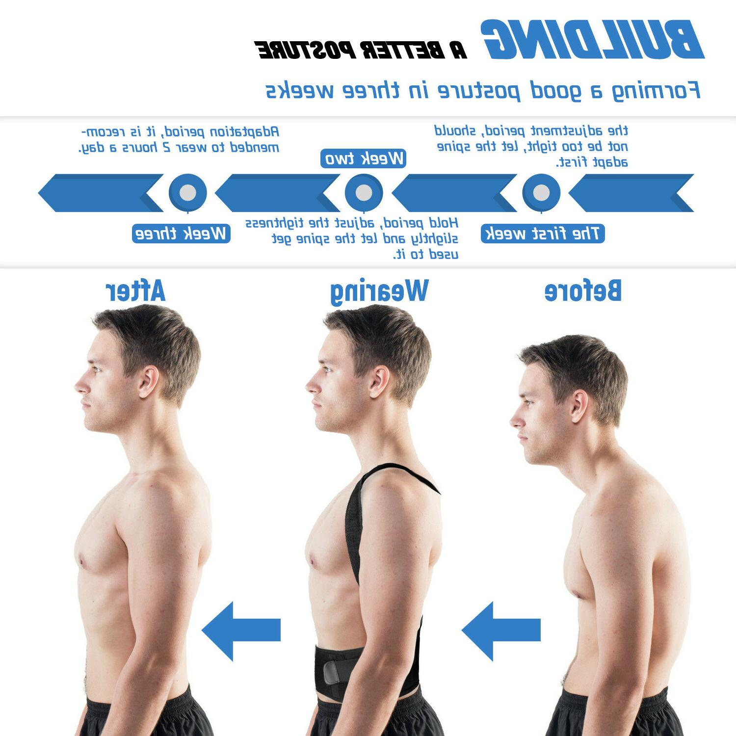 Men Posture Back Shoulder Support Brace Belt