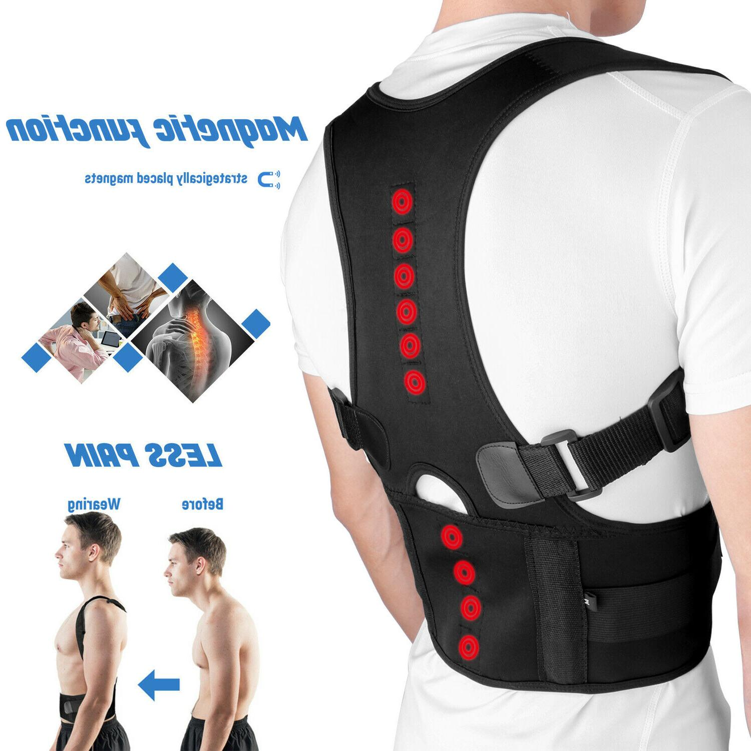 posture corrector support magnetic back shoulder brace