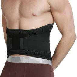 Lumbar Support Back Brace with Removable Pad, Black, Regular