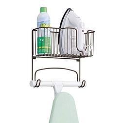 mDesign Wall Mount Ironing Board Holder with Storage Basket