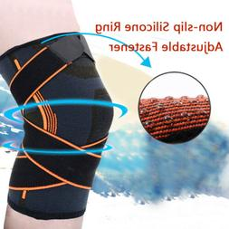 Knee Support Brace Compression Sleeve Adjustable Cap Protect